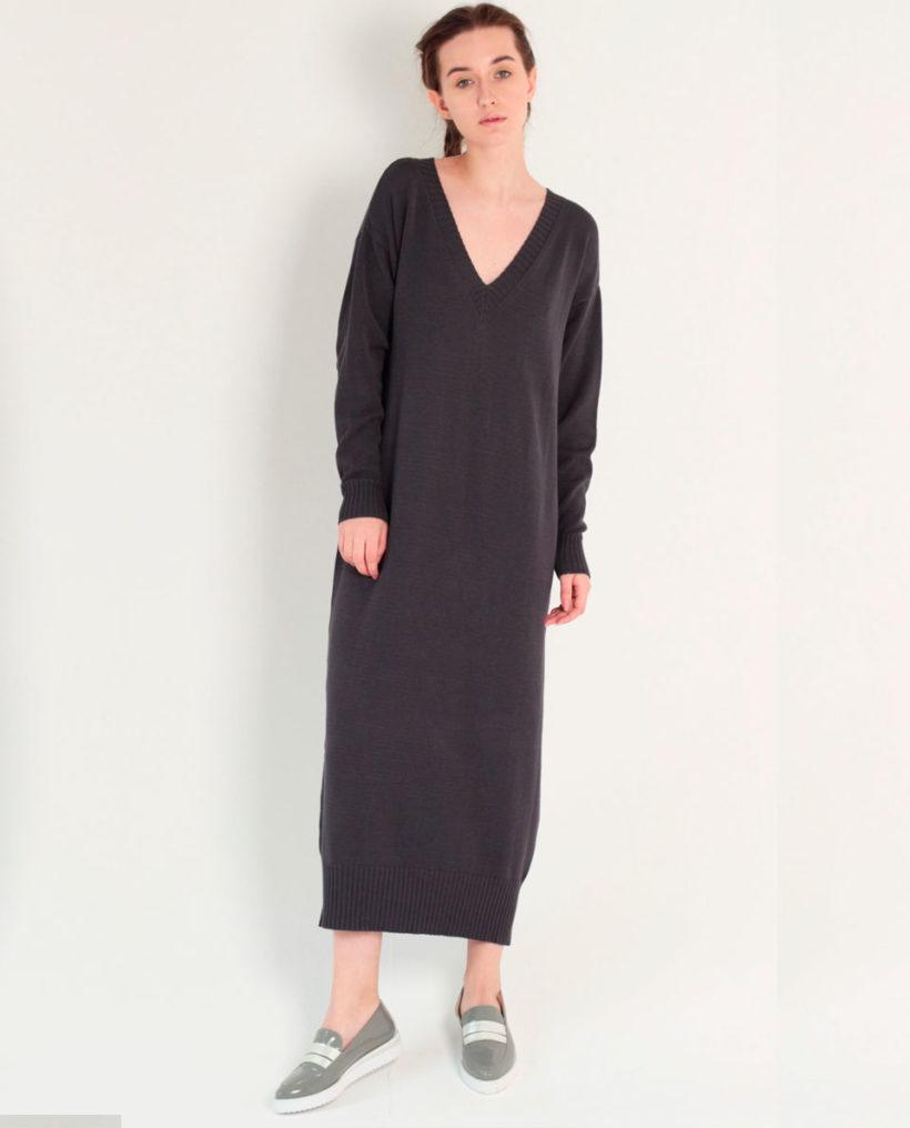длинное трикотажное платье размера оверсайз K Store